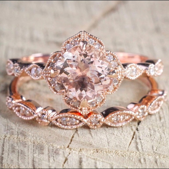 63 off Jewelry 2 Pc Set Crystal Ring Rose Gold Wedding Engagement